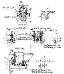 1 - корпус; 2 - хомут; 3 - подушка; 4 - проушина: 5- гайка ГОСТ 5915-70 6 - ребро; 7 - упор для трубопровода Дн 377 мм и более